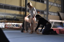 Stylists Tierra Armstrong and Despina Katsifi prepare Vasiliki's outfit for opening shot